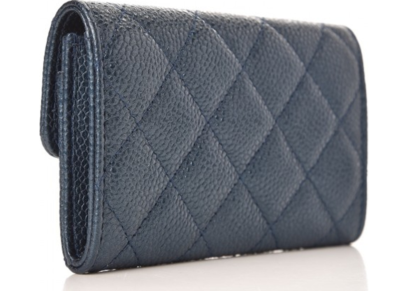 Chanel Card Holder Quilted Metallic Caviar Light Gold-tone Blue e63934f24