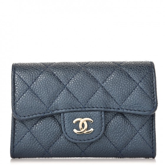 Chanel Card Holder Quilted Metallic Caviar Light Gold-tone Blue