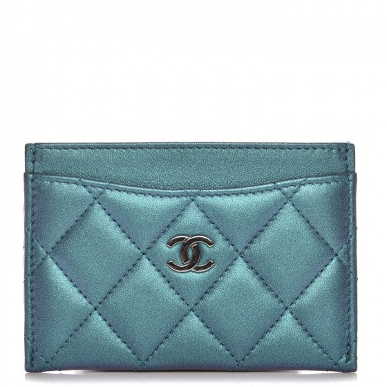 Chanel Card Holder Diamond Quilted Metallic Turquoise