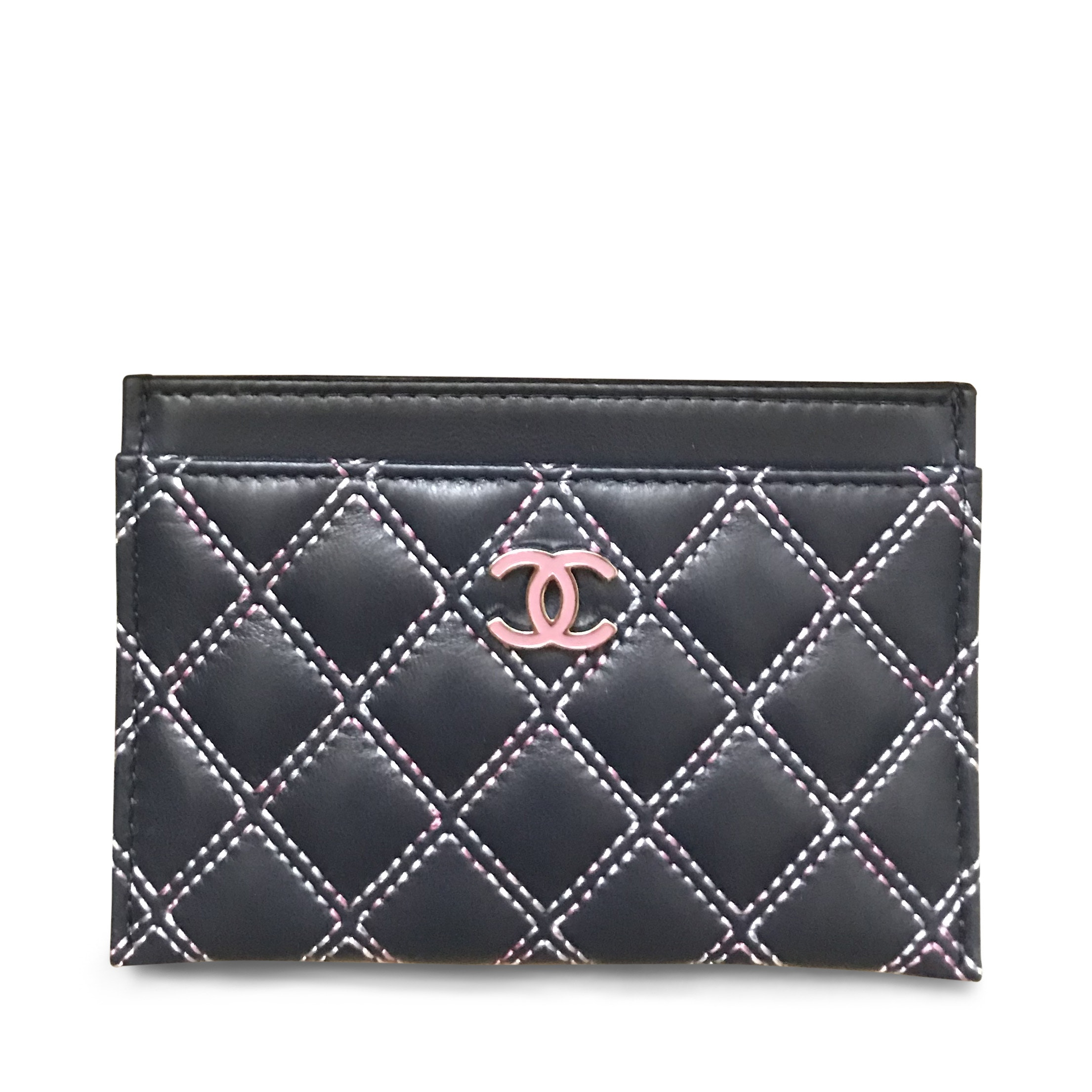 Chanel Card Holder Quilted White Stitching Navy Pink