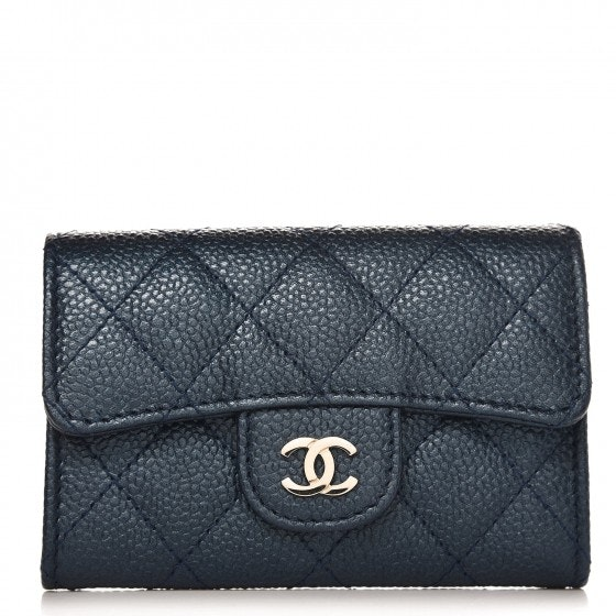 Chanel Card Holder Wallet Quilted Diamond Blue