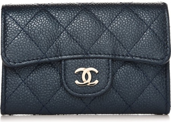 7c4f3ed44f8d Chanel Card Holder Wallet Quilted Diamond Blue