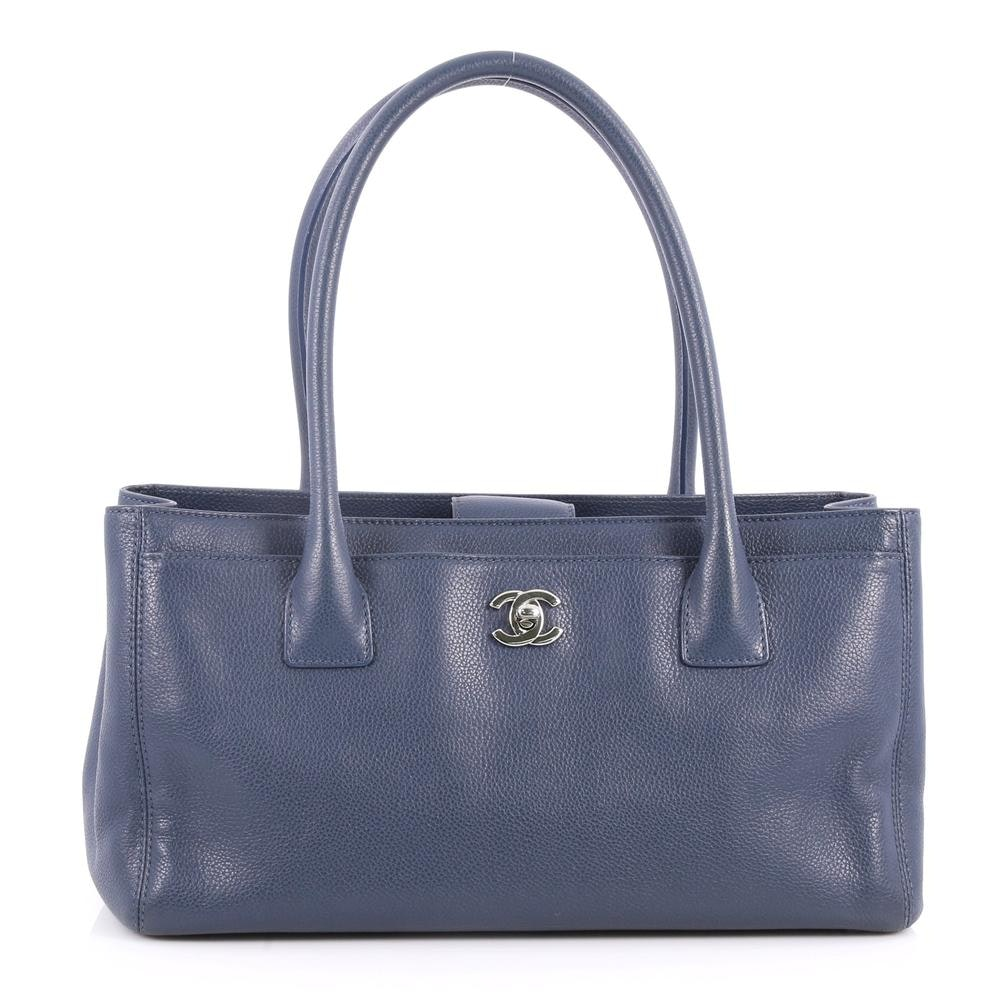 Chanel Cerf Executive Tote Small Blue