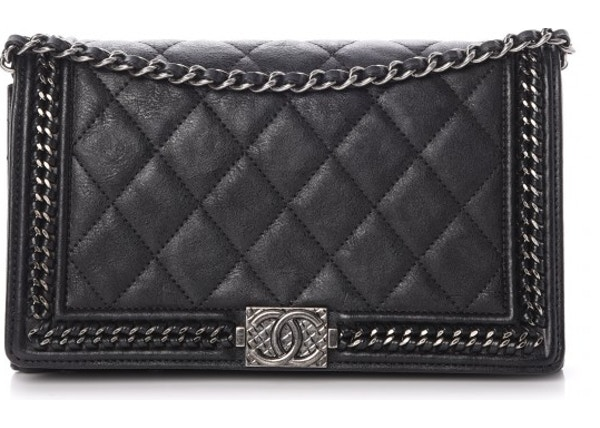 002d55c8aead Chanel Chain Around Boy Wallet On Removable Chain Quilted Calfskin Ruthenium -tone Black