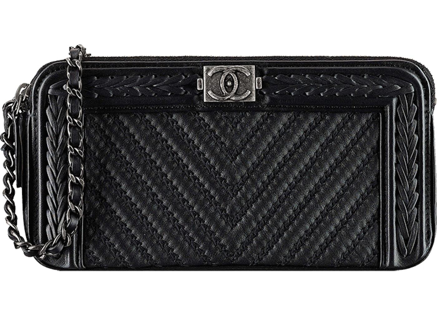 0e1f4772282e Sell. or Ask. View All Bids. Chanel Chain Boy Clutch Chevron Braided Black
