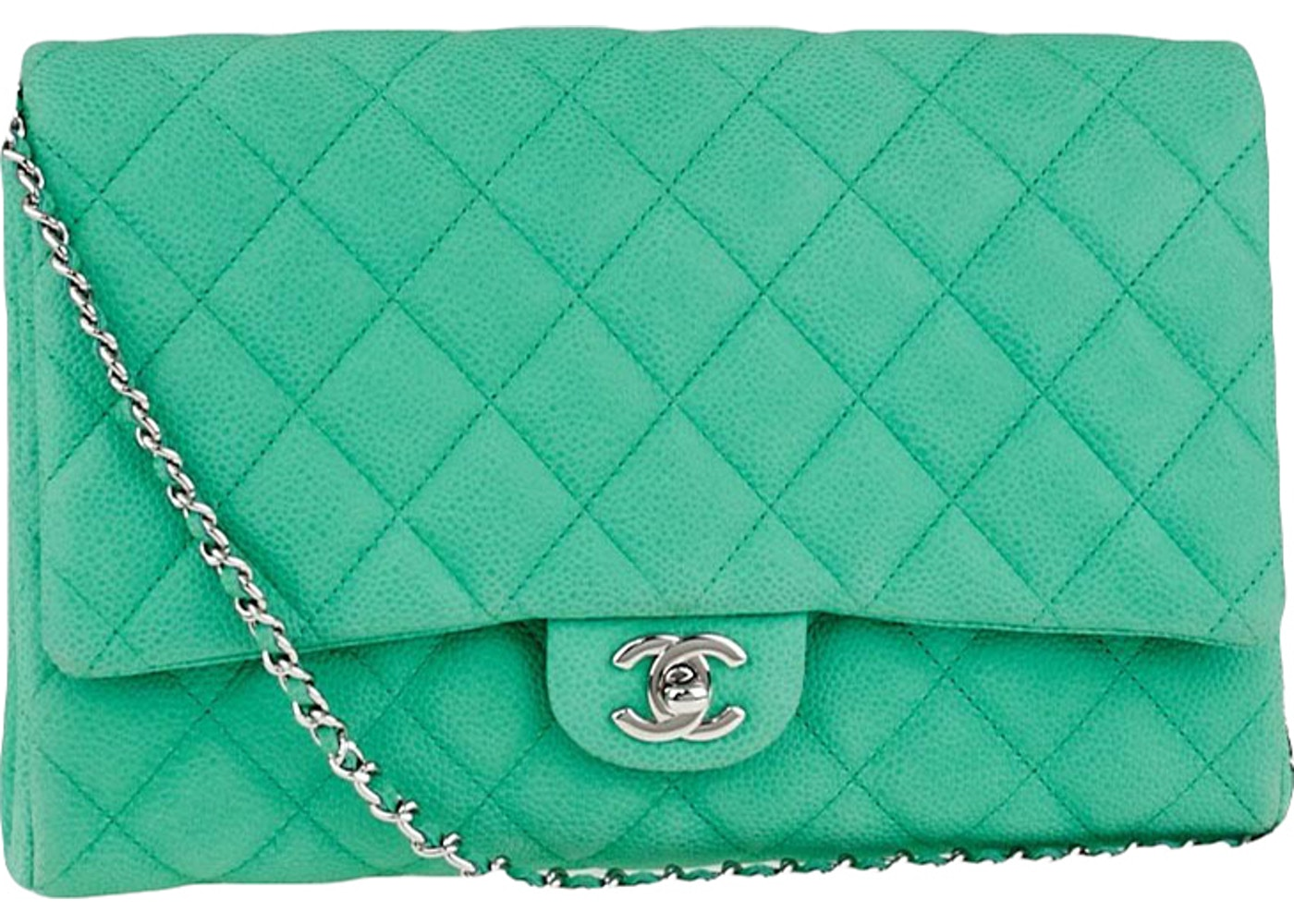 85d478896044cf Sell. or Ask. View All Bids. Chanel Chain Clutch Classic Single Flap Quilted  Green