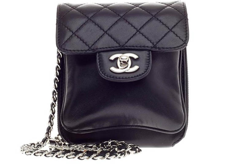 Chanel Zip Pouch Chain Flap Quilted Diamond Mini Black