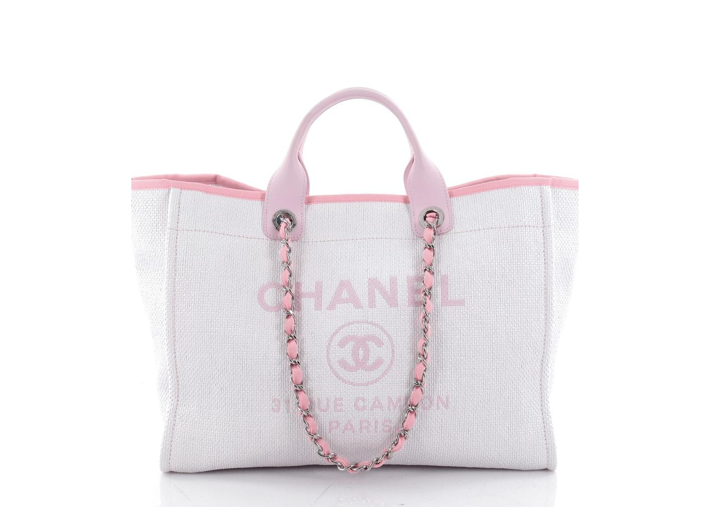 77ac833c1a7 Chanel Deauville Chain Tote Large Light Pink
