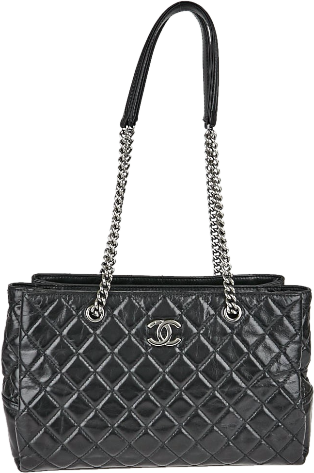 Chanel Chain Tote Quilted Glazed Black