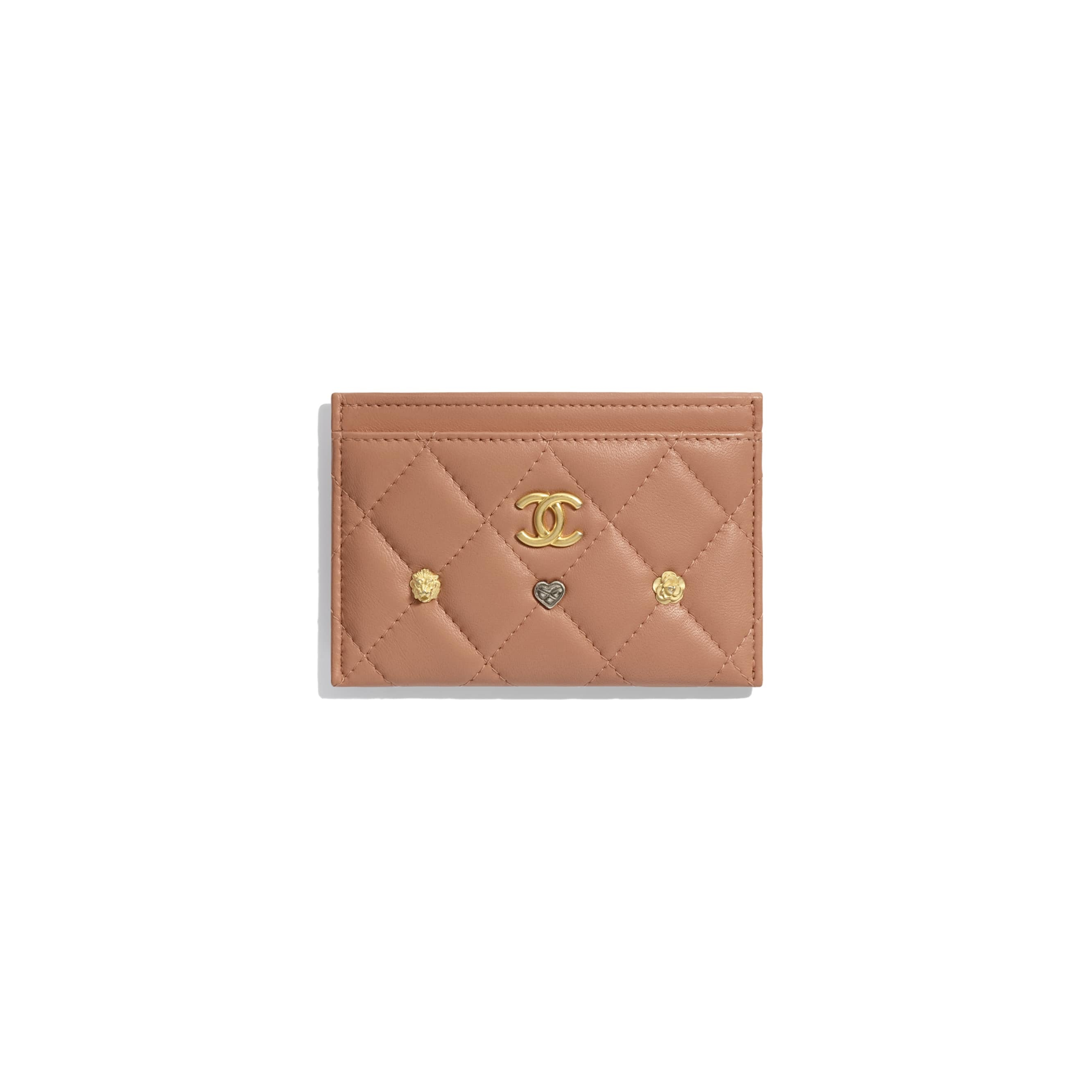 Chanel Charms Card Holder Quilted Lambskin Gold-tone Beige