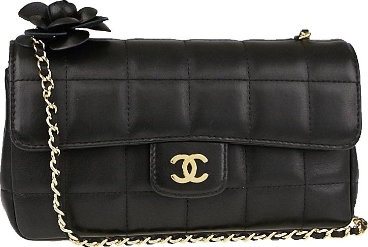 Chanel Chocolate Bar Flap Camellia Quilted Mini Black