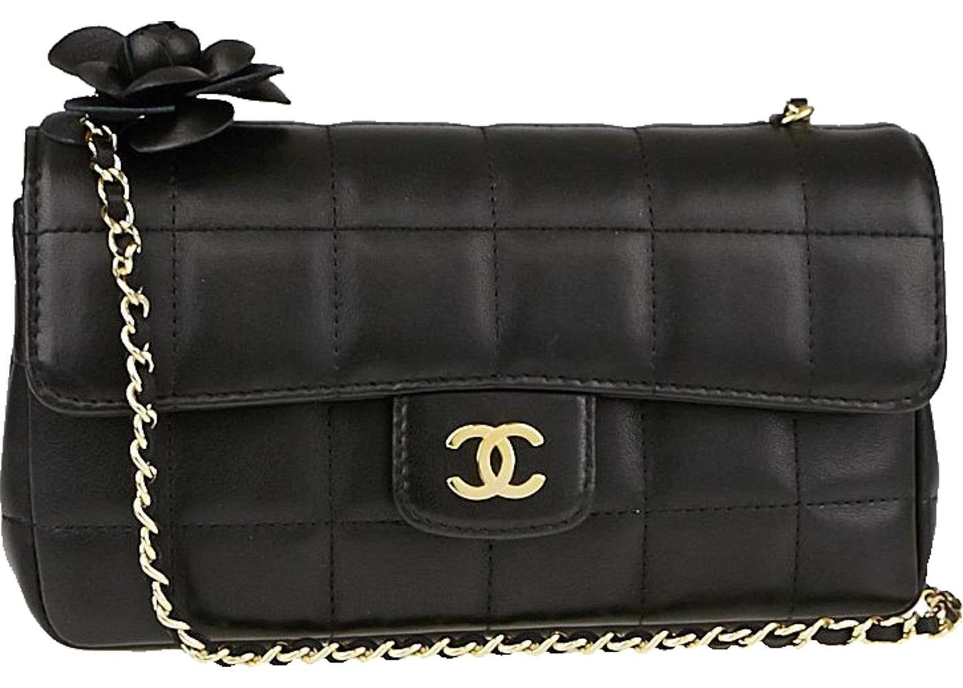 d9cc15a401f3a Chanel Chocolate Bar Flap Camellia Quilted Mini Black