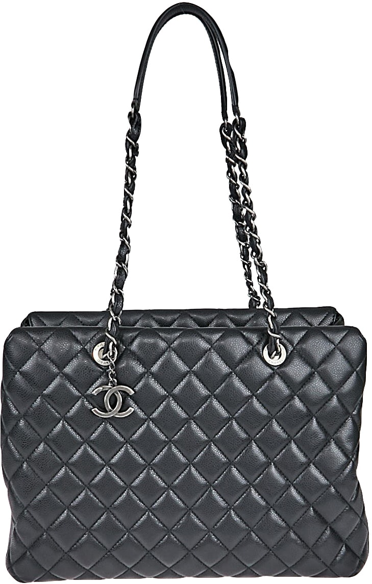 Chanel City Shopping Tote Quilted Large Black