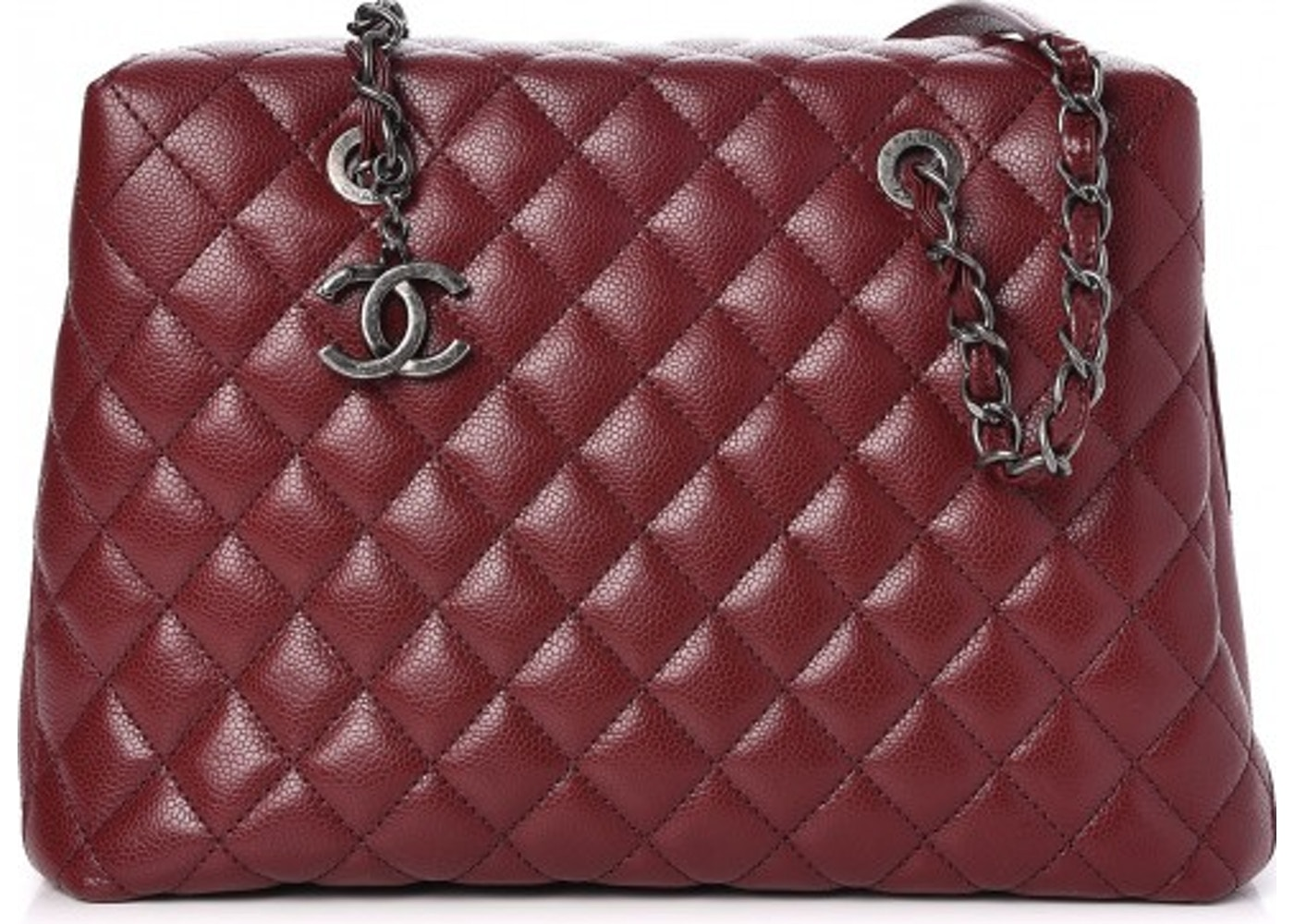 990e007ced Chanel City Shopping Tote Quilted Large Dark Red. Quilted Large Dark Red