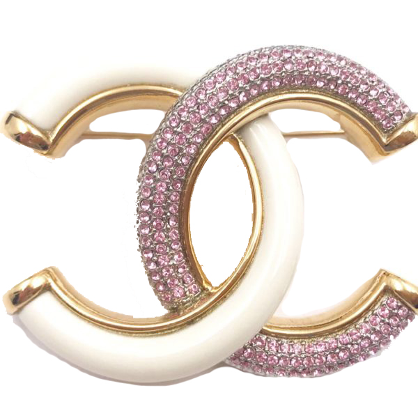 Chanel Classic Cc Brooch Crystal White/Pink