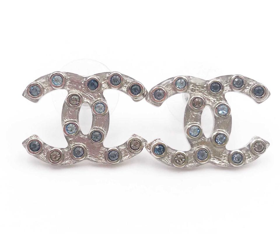Chanel Classic Cc Turnlock Crystal Earrings Blue