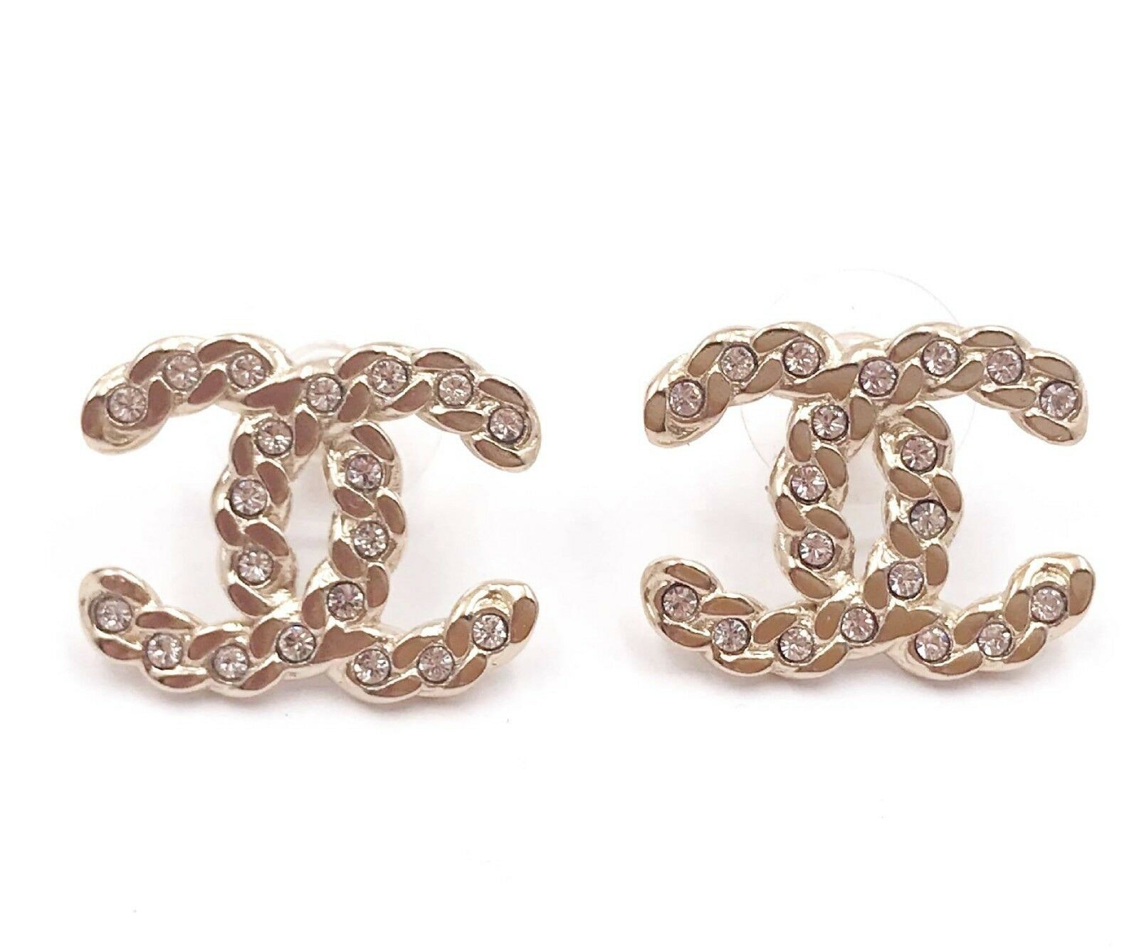 Chanel Classic CC Turnlock Crystal Earrings Gold/Silver