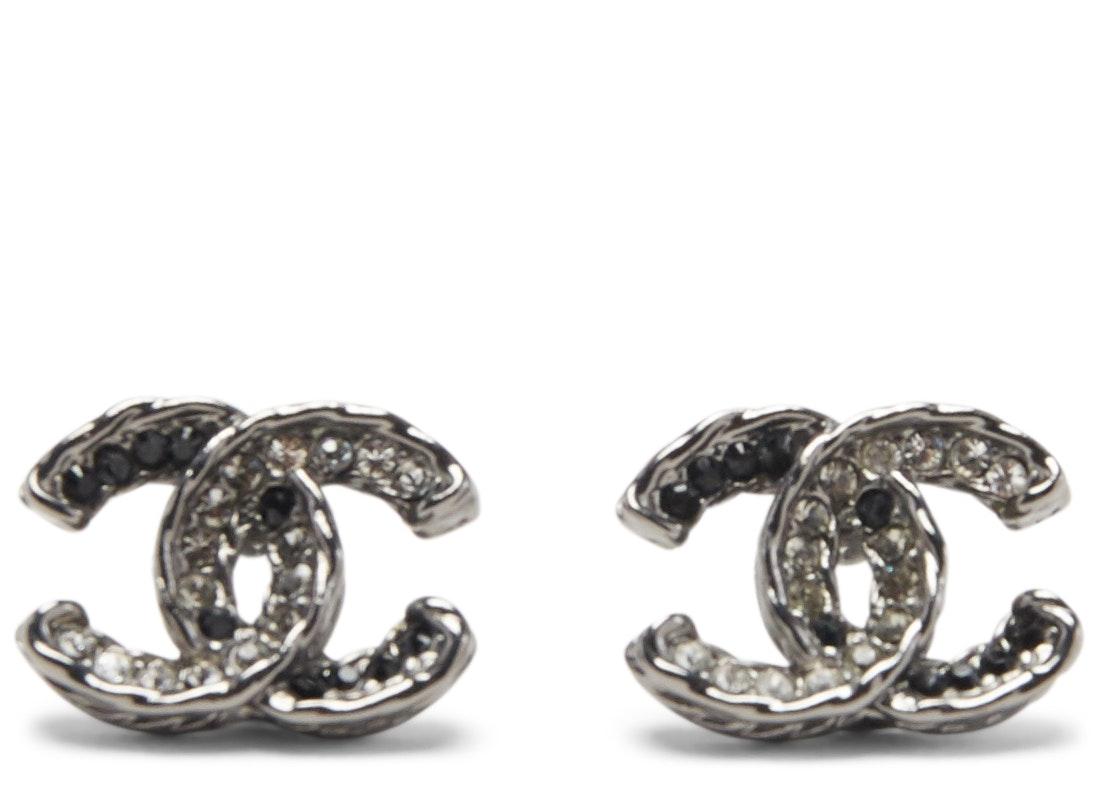 Chanel Classic CC Turnlock Crystal Earrings Grey/Black