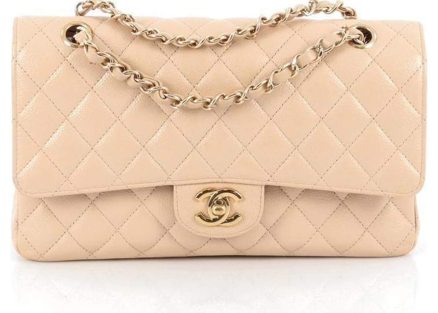 476708a8c8e7 Chanel Classic Double Flap Diamond Quilted Medium Nude