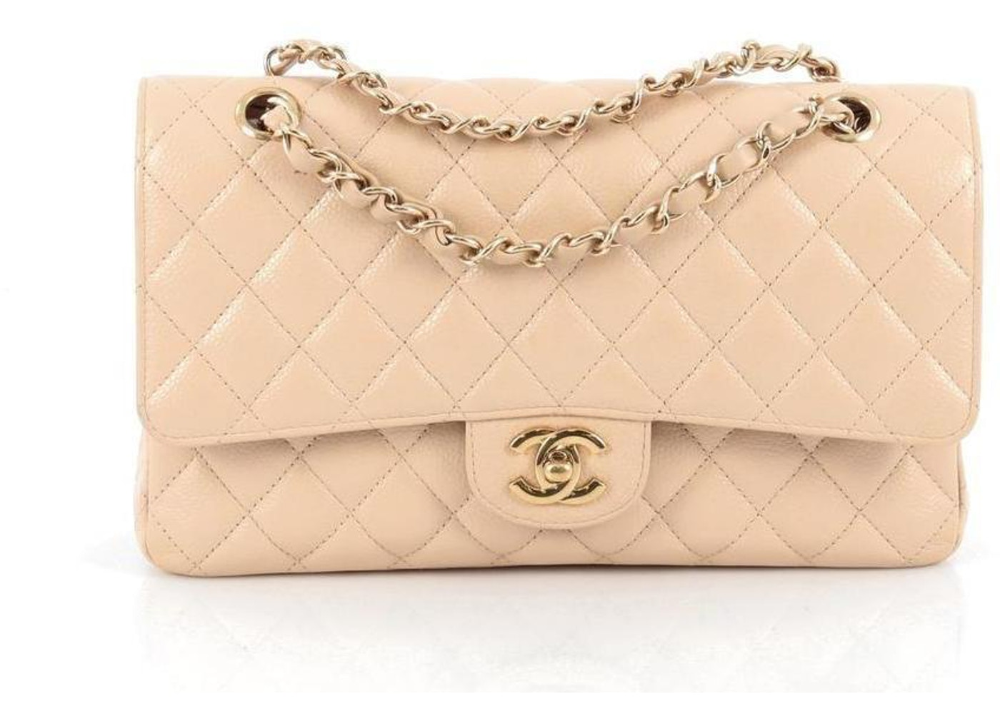 Classic Double Flap Diamond Quilted Medium Nude by Chanel, available on stockx.com Natasha Oakley Bags Exact Product