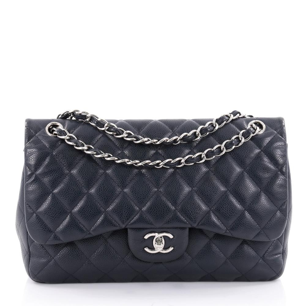 Chanel Double Classic Flap Quilted Diamond Jumbo Navy Blue