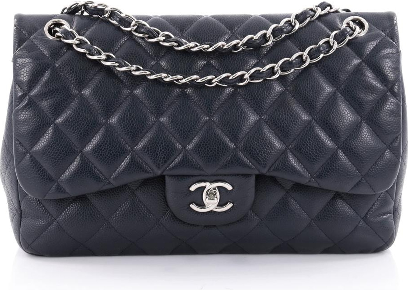 14b06fe8fc0e Chanel Double Classic Flap Quilted Diamond Jumbo Navy Blue