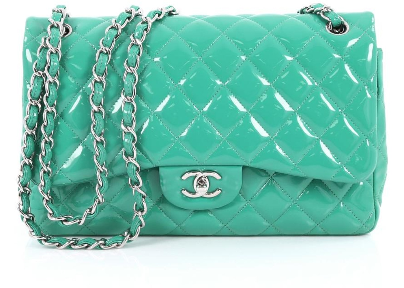 3efcff8c8f31b Chanel - Metallic Medium Classic Tweed Double Flap Bag Mint - Lyst .
