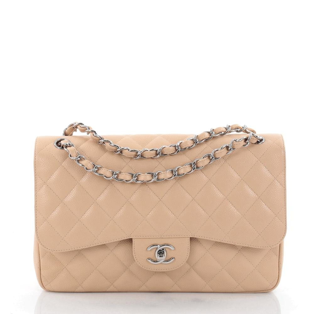 Chanel Double Classic Flap Quilted Diamond Medium Light Beige