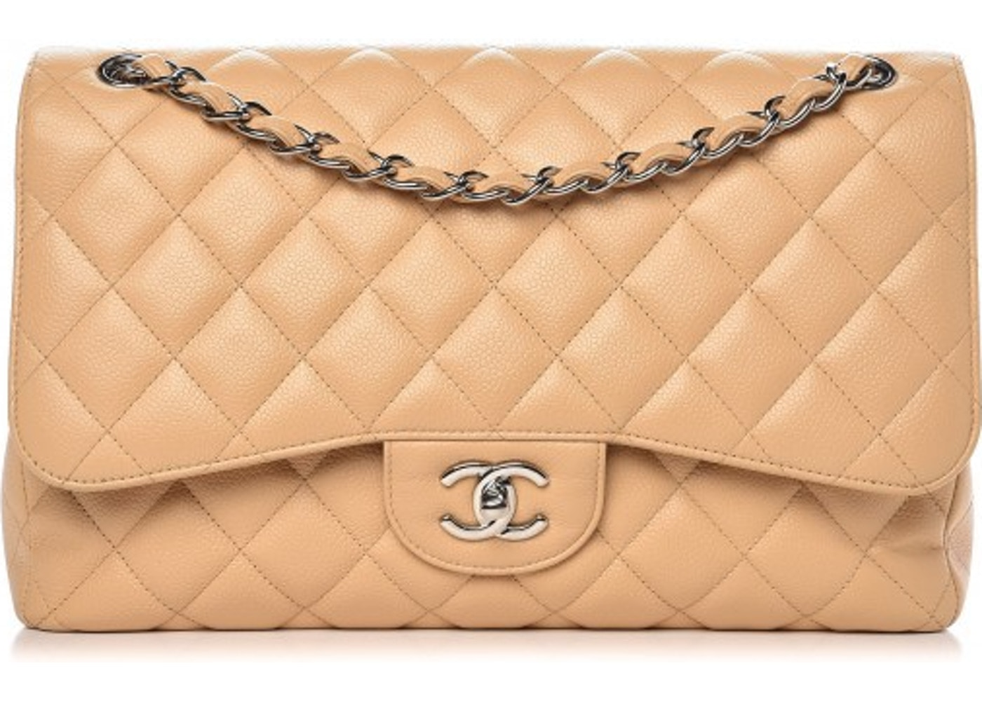 dcaa43423216 Chanel Classic Double Flap Quilted Jumbo Beige Clair. Quilted Jumbo Beige  Clair