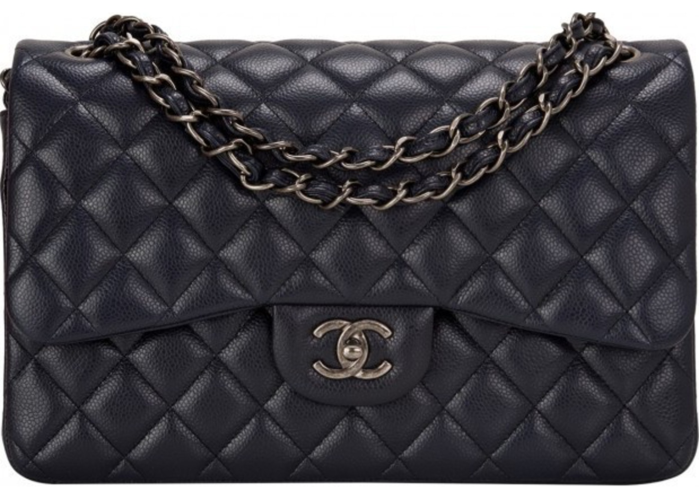 2030ad4b2649 Chanel Classic Double Flap Quilted Jumbo Navy Blue