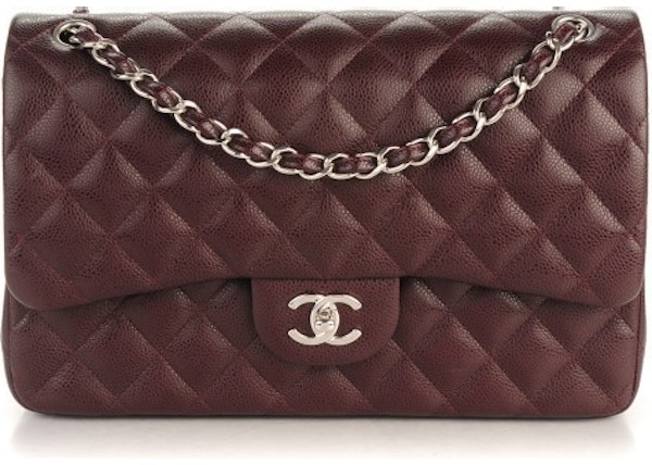 06bd8e6e52fa Chanel Classic Double Flap Quilted Jumbo Burgundy