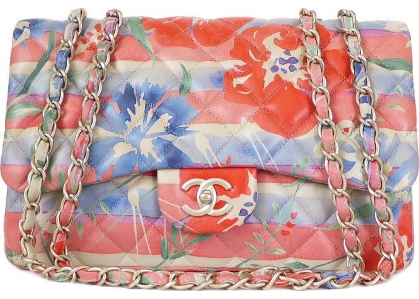 b729351136cc90 Sell. or Ask. View All Bids. Chanel Classic Double Flap Quilted Floral  Print Jumbo ...