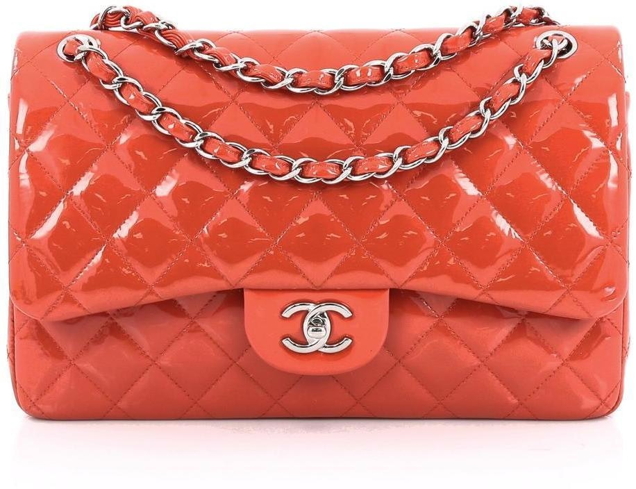Chanel Classic Double Flap Quilted Jumbo Red Orange