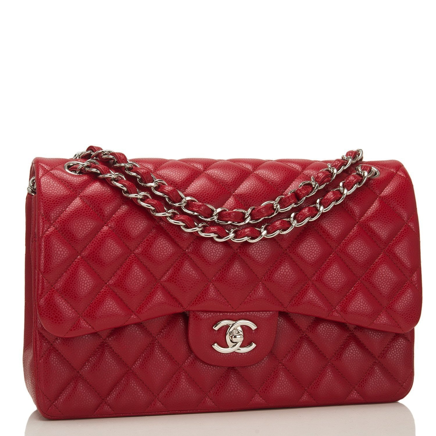 Chanel Classic Double Flap Quilted Jumbo Red