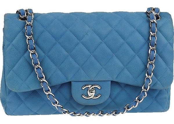 df4d1723f81e Chanel Classic Double Flap Quilted matte Jumbo Light Blue