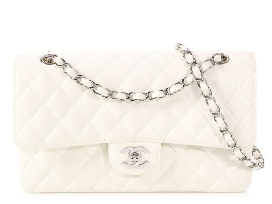 Chanel Classic Double Flap Quilted Medium White