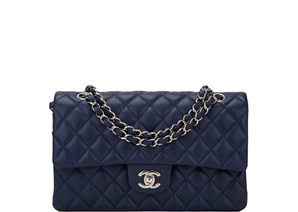 927515119278 Chanel Classic Double Flap Quilted Medium Navy Blue