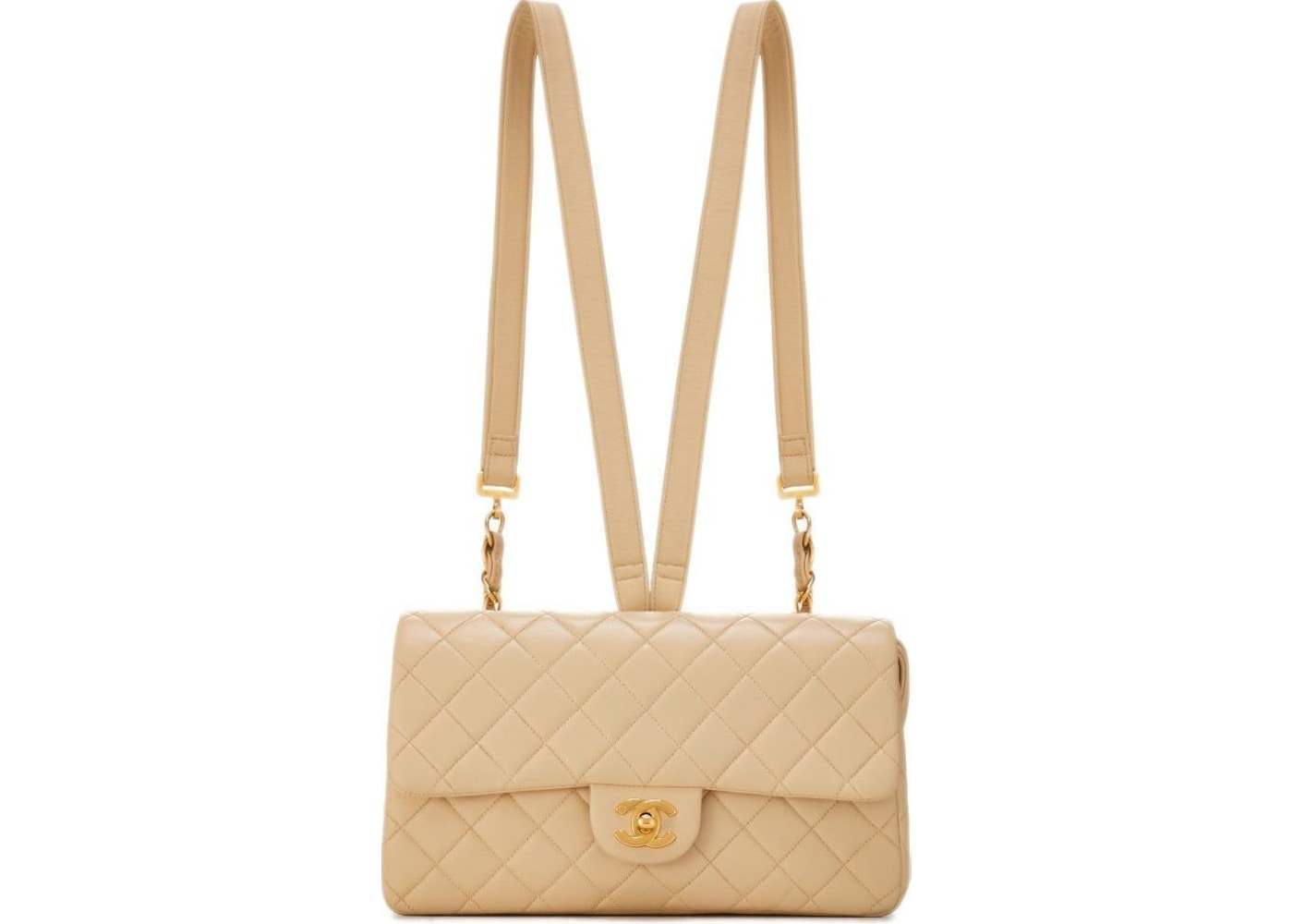 d3eca0e609ad Chanel Backpack Classic Flap Diamond Quilted Beige