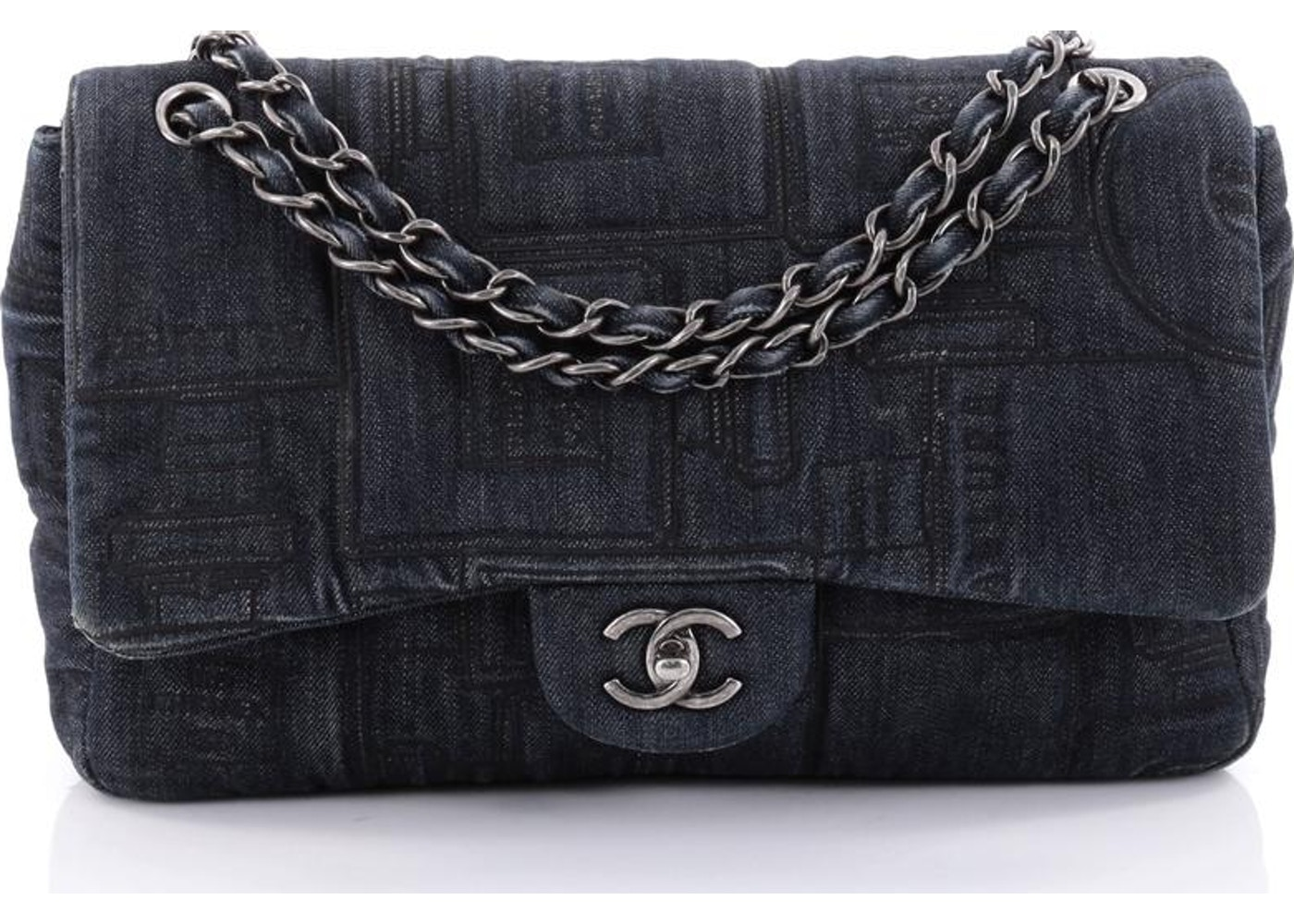 d2563a85aed21a Chanel Classic Flap Bag Embroidered Jumbo Dark Blue. Embroidered Jumbo Dark  Blue