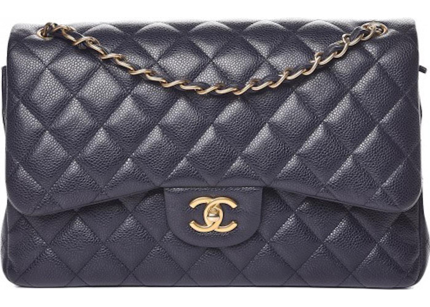 6526a9d2934e Chanel Classic Double Flap Caviar Jumbo Navy