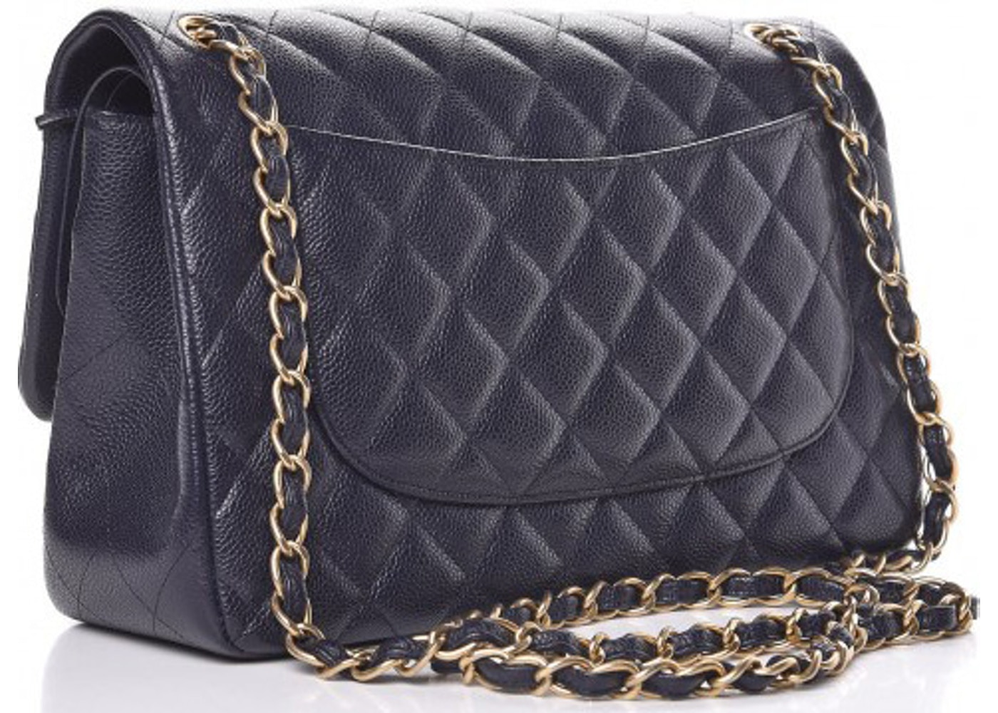 31426a0c56236 Chanel Classic Double Flap Caviar Jumbo Navy