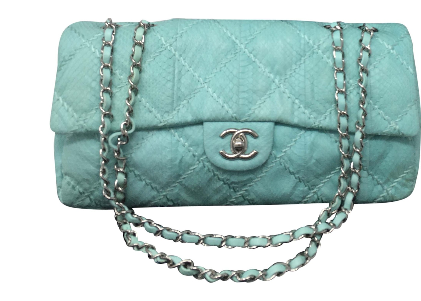0e664a277078f0 Chanel Classic Flap Quilted Python Medium Turquoise. Quilted Python Medium  Turquoise
