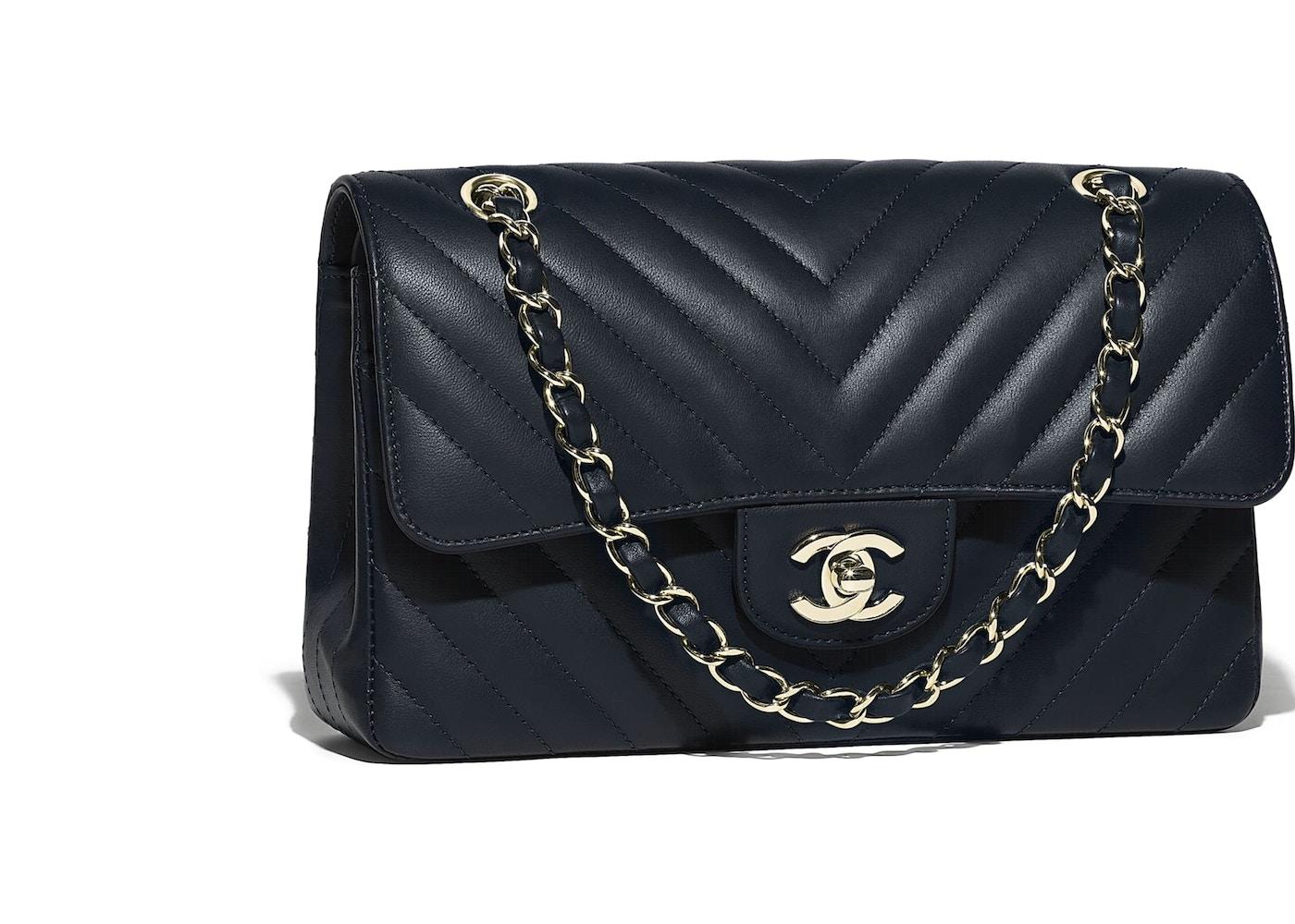 9d3e15709ad3 Chanel Classic Handbag Chevron Lambskin Gold-tone Small Navy Blue