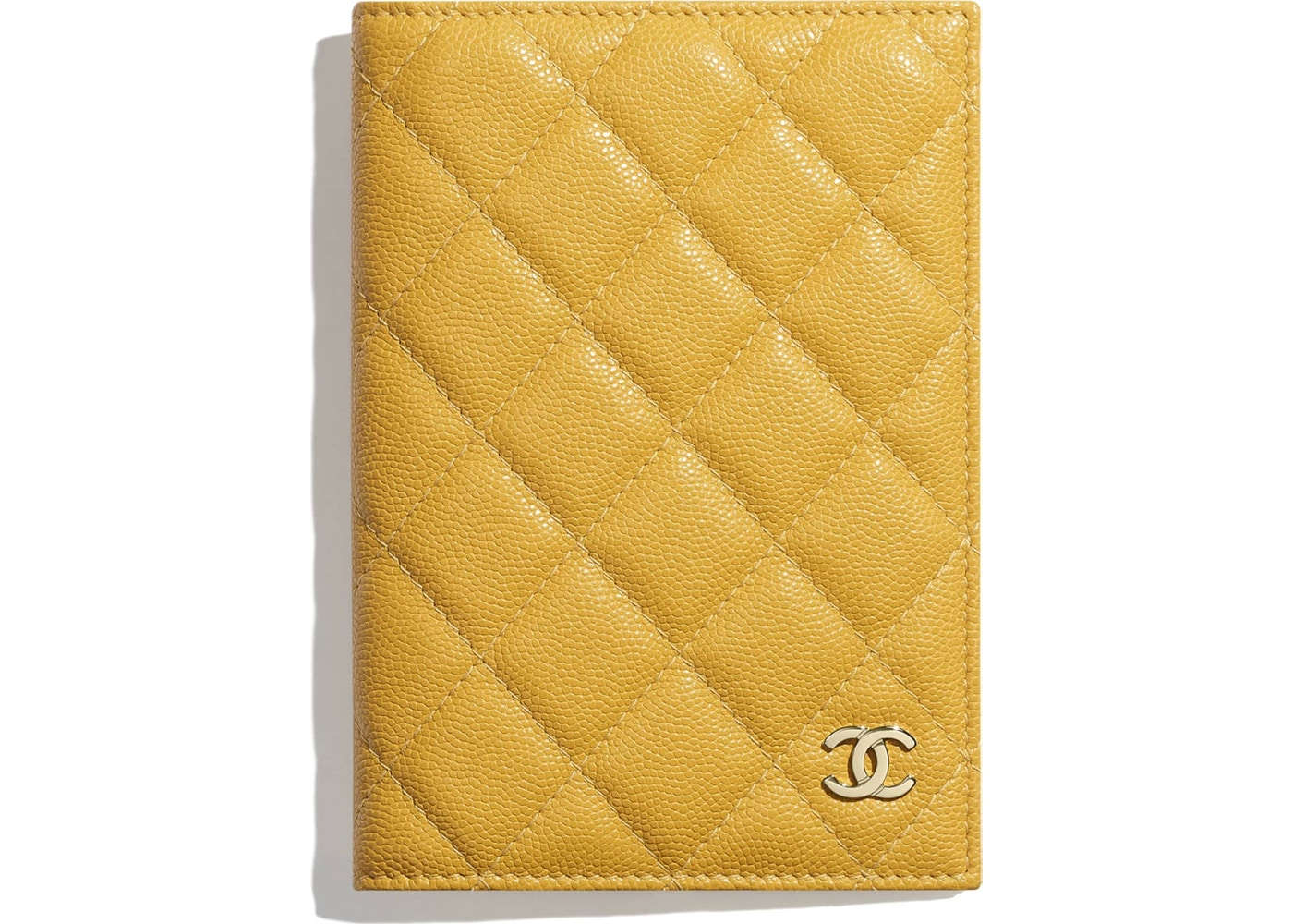 03fbd00ddde7 Chanel Classic Passport Holder Quilted Grained Calfskin Gold-tone Yellow.  Quilted Grained Calfskin Gold-tone Yellow
