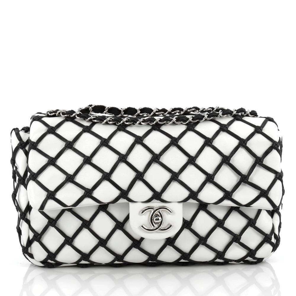 Chanel Classic Single Flap Canebiers Netted Jumbo White/Black
