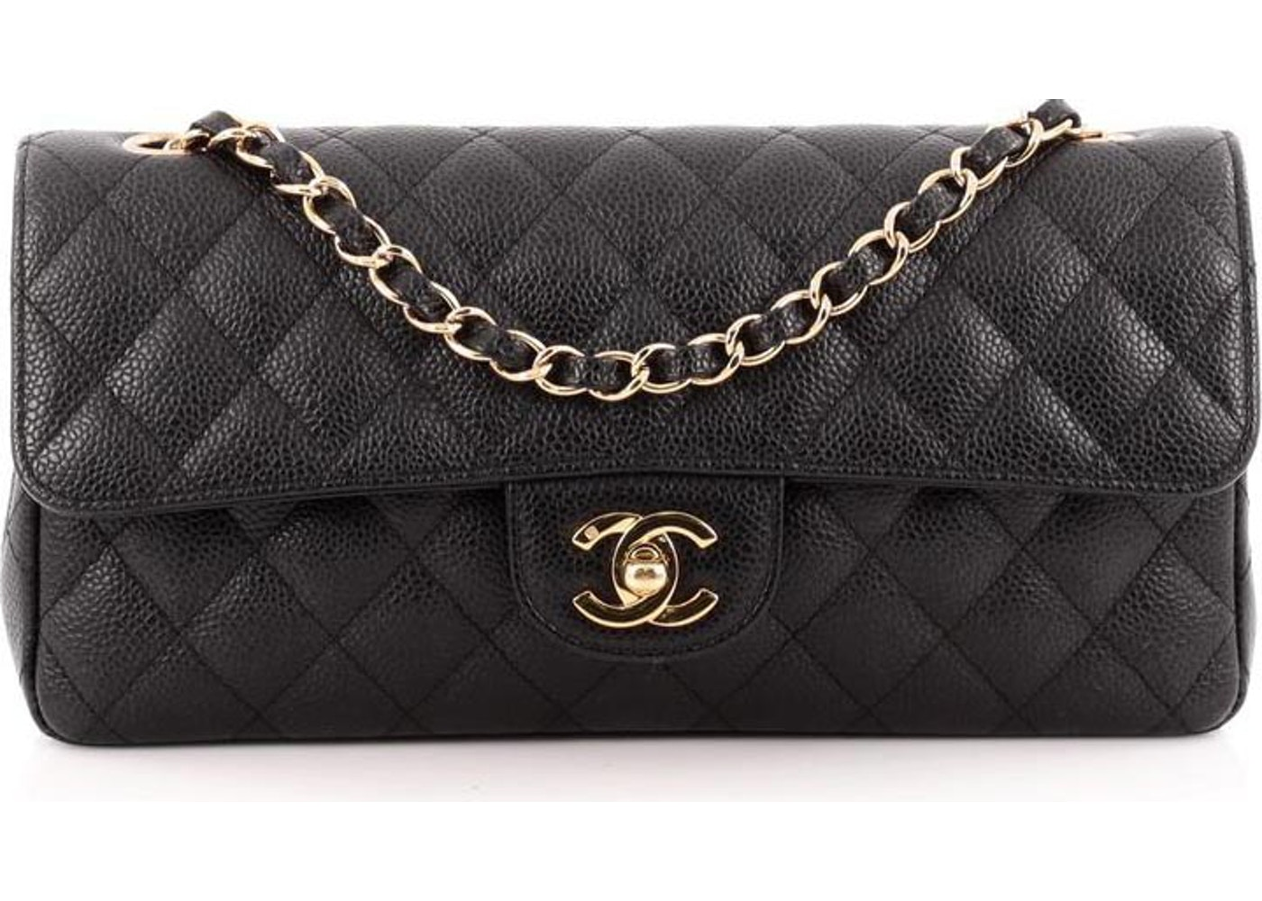 1f7b6b1699fe Chanel East West Classic Single Flap Quilted Diamond Black. Quilted Diamond  Black