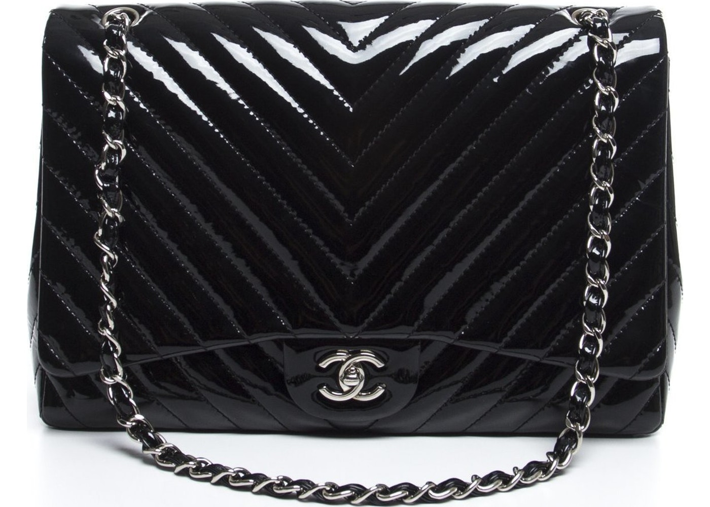 6ec58a251eee Sell. or Ask. View All Bids. Chanel Classic Single Flap Quilted Chevron jumbo  Black