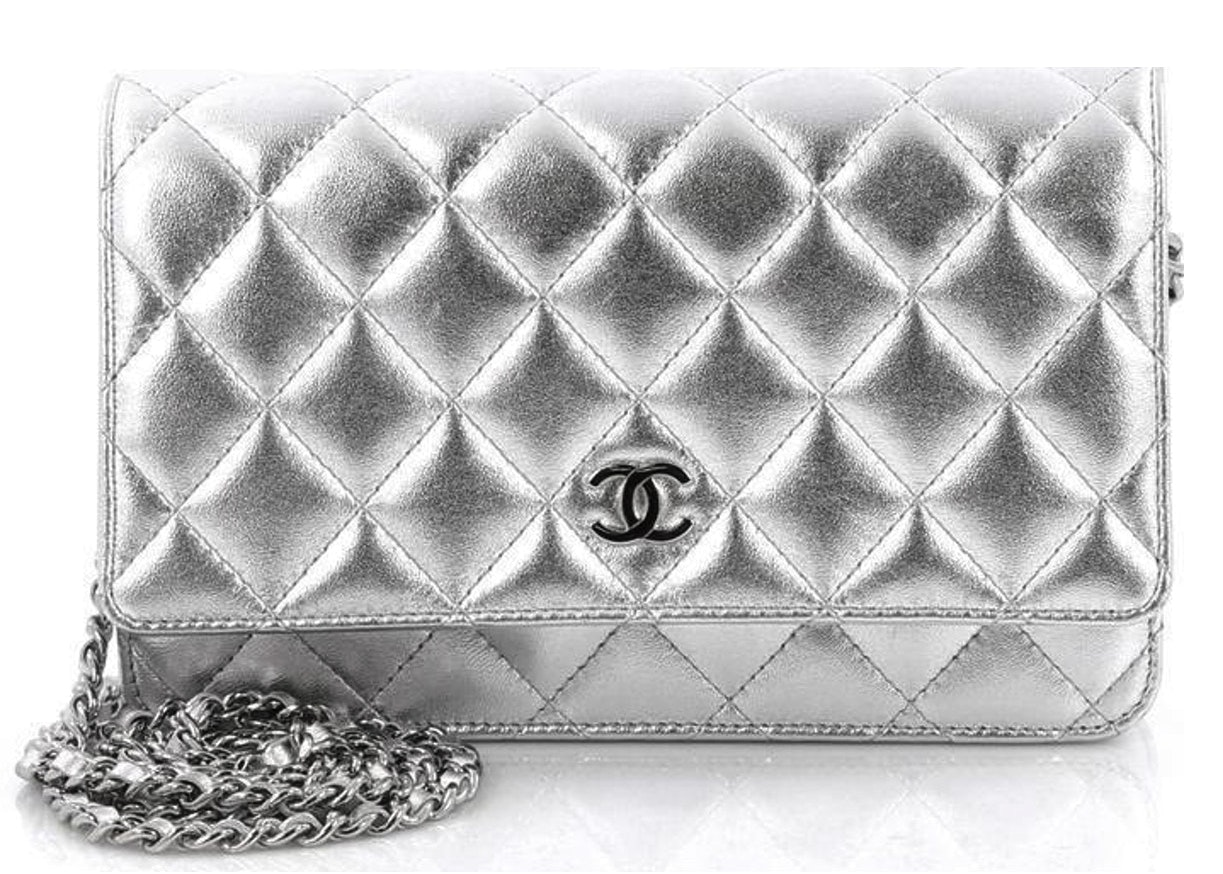 Chanel Classic Wallet On Chain Quilted Silver