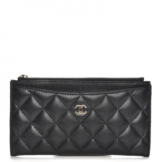 Chanel Zip Classic Pouch Diamond Quilted Black