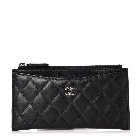 Chanel Classic Zip Pouch Quilted Diamond Black